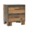 2 Drawer Rustic Nightstand with Nails and Grain Details, Dark Brown - BM215791