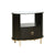 1 Drawer Oval Shaped Glass Top Nightstand with Open Compartment, Dark Brown - BM215831