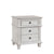 3 Drawer Farmhouse Style Nightstand with Metal Knobs and Tapered Feet,White - BM215847