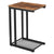 C Shaped Wood and Metal Side Table with Open Mesh Shelf, Brown and Black - BM217101