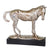 15 Inches Polyresin Frame Decorative Horse Sculpture, Distressed Silver - BM217162