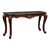 Wooden Console Table with Marble Top and Carved Details, Gray and Brown - BM218025