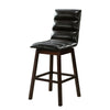 Horizontal Stitched Leatherette Wooden Barstool, Espresso Brown - BM218953