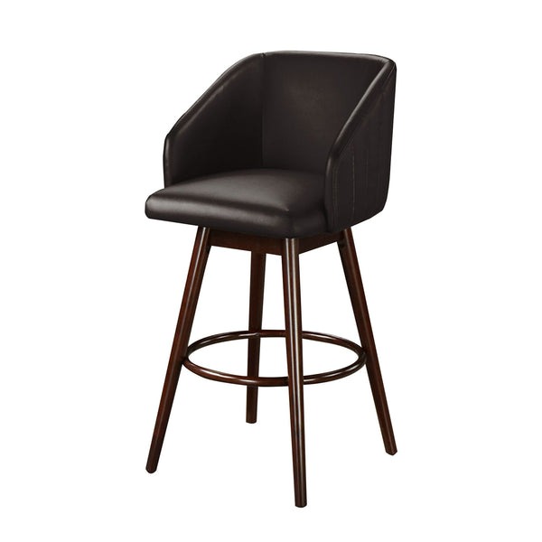 Horizontal Stitched Bucket Seat Leatherette Wooden Barstool, Espresso Brown - BM218956