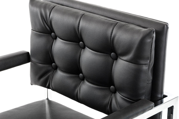Leatherette Button Tufted Back Bar Stool with X Shaped Metal Base, Black - BM219278