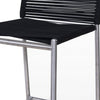 Contemporary Bar Stool with Bungee Cord Seat and Back, Black and Silver - BM219295