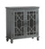 2 Door Accent Chest with Glass Inlay Design and Turned Feet, Gray - BM219762