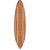 Contemporary Wooden Surfboard Wall Art with Block Stripe Print, Brown - BM220219