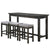 1 Drawer Counter Height Table with Backless Stools, Set of 4, Gray - BM220894