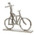 13 Inches Metal Frame Man on Bicycle Sculpture, Silver - BM221036