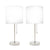 17 Inches Metal Frame Table Lamp with Chain Pull Switch, Set of 2, Silver - BM221066