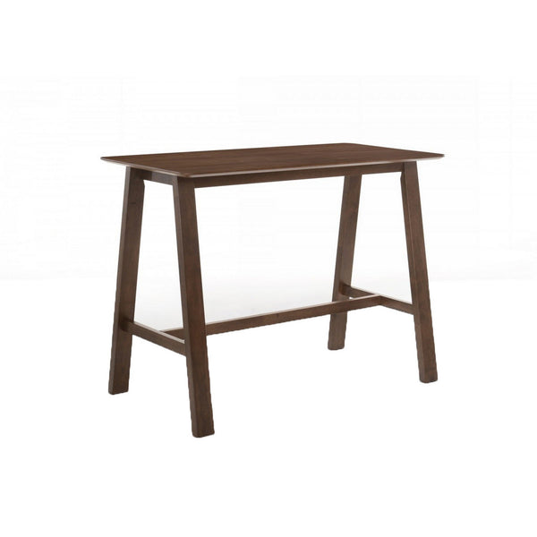 Wooden Rectangular Bar Table with Angled Block Legs, Brown - BM221191