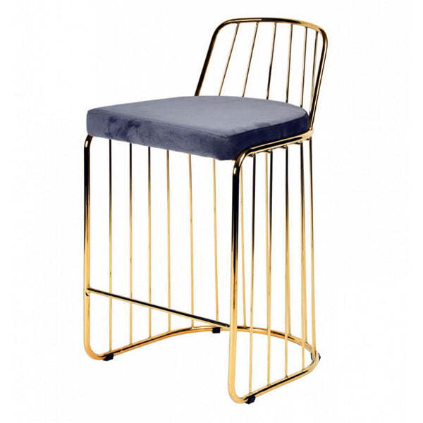 Modern Barstool with Fabric Upholstered Seat and Metal Frame, Gray and Gold - BM221216