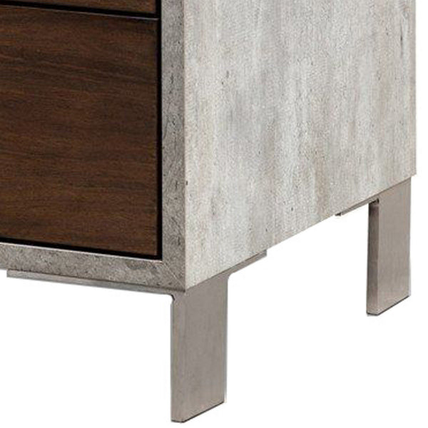 2 Drawer Faux Concrete Nightstand with Metal Legs, Brown and Gray - BM223478