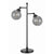 Industrial Metal Body Table Lamp with Two Glass Ball Shades, Black - BM223696