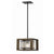 60 Watt Mini Pendant with Wooden Frame and Organza Striped Shade, Brown - BM223702
