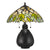 2 Bulb Tiffany Table Lamp with Leaf Design Glass Shade, Multicolor - BM224791