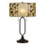 2 Bulb Tiffany Table Lamp with Round Leaf Design Glass Shade, Multicolor - BM224888