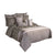 10 Piece King Polyester Comforter Set with Leaf Print, Platinum Gray - BM225167