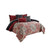 10 Piece King Size Comforter Set with Medallion Print, Red and Blue - BM225195
