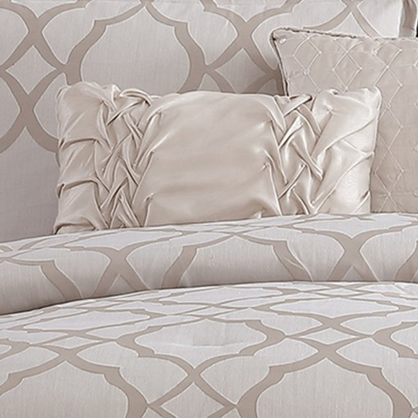 10 Piece King Size Fabric Comforter Set with Quatrefoil Prints, White - BM225201