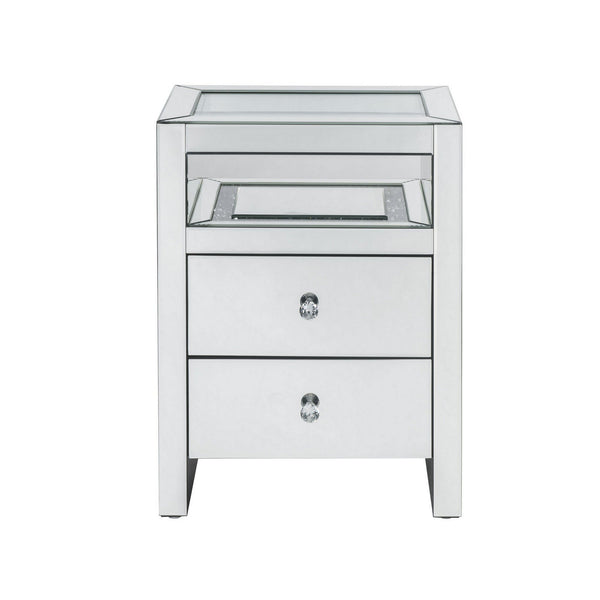 2 Drawer Beveled Mirrored Nightstand with Glass Top and LED, Silver - BM225703