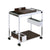Metal and Wood Serving Cart with Tray and Floating Shelf, Brown and Silver - BM225725