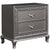 Wooden Nightstand with Faux Crystal Accents and 2 Drawers, Gray - BM225822
