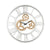 Round Mirror Panel Open Frame Wall Clock with Gear Design, Silver - BM225867