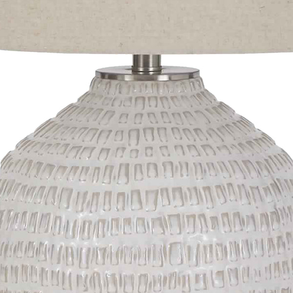 Textured Ceramic Frame Table Lamp with Fabric Shade, Beige and White - BM226099