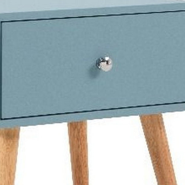 1 Drawer Wooden Nightstand with Round Tapered Legs, Blue and Brown - BM226953