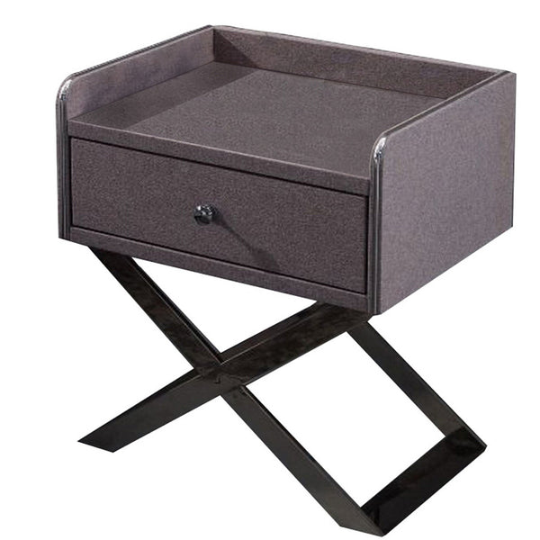 1 Drawer Wooden Nightstand with X Shaped Metal Base, Gray and Chrome - BM226956