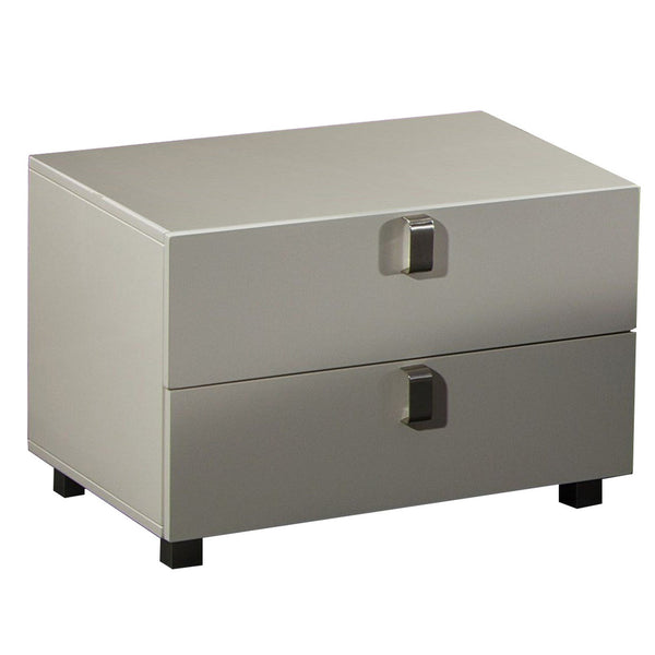 Contemporary Style Wooden Nightstand with 2 Drawers, White - BM226960