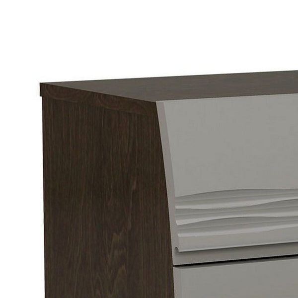 18 Inches Dual tone Wooden Nightstand with 2 Drawers, Light Gray and Brown - BM226962