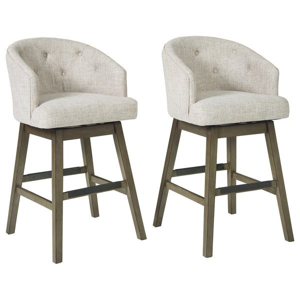 42 Inch Fabric Upholstered Tufted Swivel Barstool, Set of 2, Gray and Beige - BM227036