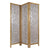 3 Panel Wooden Screen with Pearl Motif Accent, Brown and Silver - BM228613