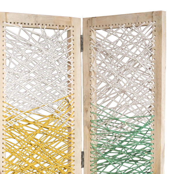 3 Panel Wooden Screen with Woven Reinforced Yarn, Multicolor - BM228614