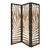 3 Panel Wooden Screen with Laser Cut Tropical Leaf Design, Brown and Black - BM228616