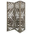 3 Panel Wooden Screen with Laser Cut Tropical Leaf Design, Gray - BM228617