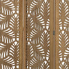 3 Panel Wooden Screen with Laser Cut Tropical Leaf Design, Brown - BM228618