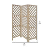 3 Panel Wooden Frame Screen with Diagonal Cut Slats, Natural Brown - BM228619