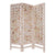 3 Panel Wooden Screen with Interspersed Square Pattern, Cream - BM228620