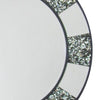32 Inch Beveled Round Wall Mirror with Pebble Inlay, Silver - BM229405