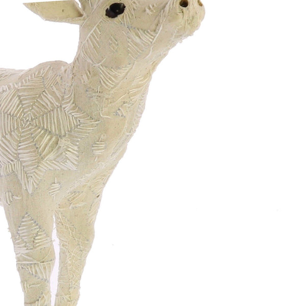 12 Inches Fabric Stag Figurine with Elegant Embroidery, White - BM229783