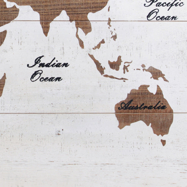 World Map Printed Rectangular Wall Decor, White and Brown - BM230562