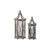 Hexagonal Lantern with Glass Insert, Set of 2, Brown - BM230563