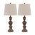 Tapered Fabric Shade Table Lamp with Turned Base, Set of 2, Gray and Brown - BM230966