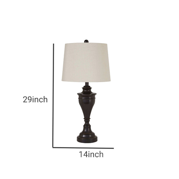 Metal Table Lamp with Turned Pedestal Base, Set of 2, Bronze - BM231406
