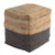 Cube Shape Jute Pouf with Braided Design, Black and Brown - BM231408