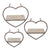 Heart Shaped Metal and Wooden Shelf, Set of 3, Gray - BM232717